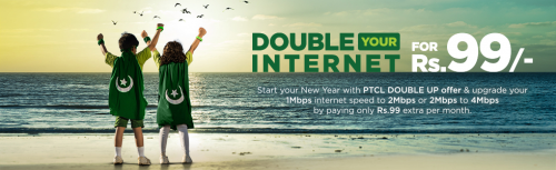 PTCL Double DSL Speed Offer for 3 Months in Rs.99 Only