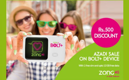 Exclusive Discounts on Zong 4G Bolt+ Device on Zong Azadi Sale Offer